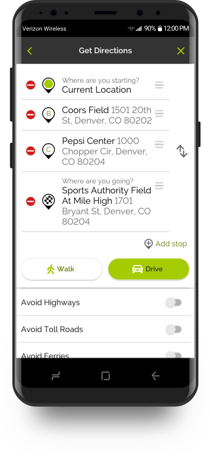 MapQuest routing feature